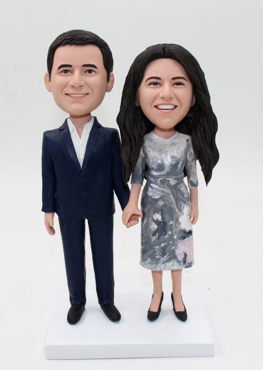 Custom Engagement cake topper custom dolls