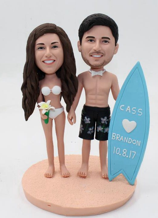 Custom Beach theme wedding cake topper with Surfboard