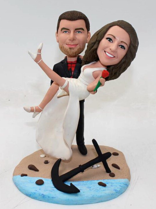 Custom Beach spiderman theme wedding cake topper