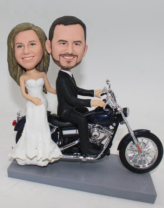 Custom Riding Motorbike wedding cake topper
