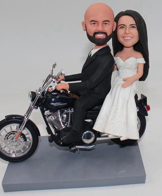 Custom Harley Davidson motorbike wedding cake topper