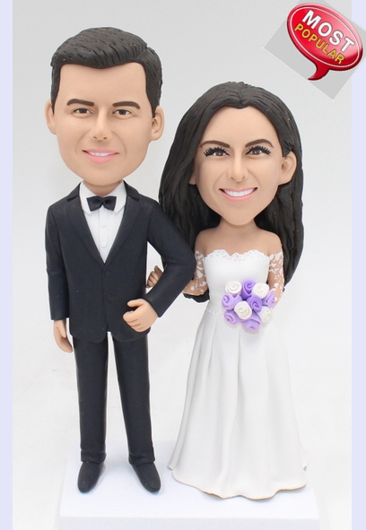Custom Custom wedding cake topper in dress & suit