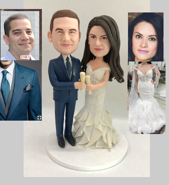 Custom Custom cheers wedding cake topper with champagn