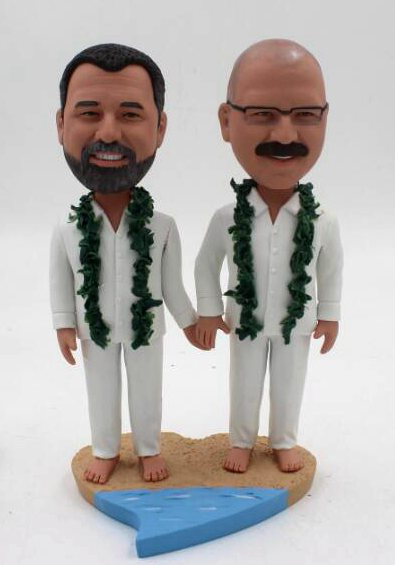 Custom Beach theme gay wedding cake toppers