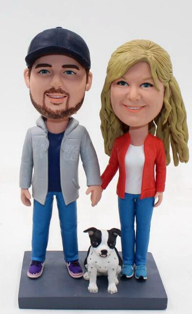 Custom Anniversary couple cake topper figurines with dog