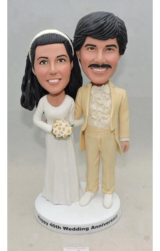 Custom Anniversary cake topper for parents 70s Fashion