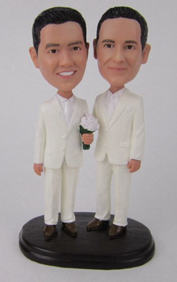Custom Same sex gay wedding cake topper make from photo