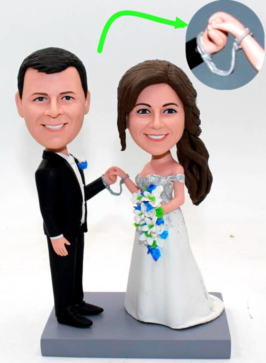 Custom Custom cake topper bride and groom connected by handcuffs