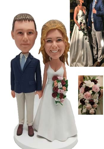 Custom Personalized Wedding Cake Topper with Flowers