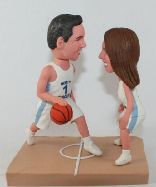 Custom Playing basketball themed wedding cake topper
