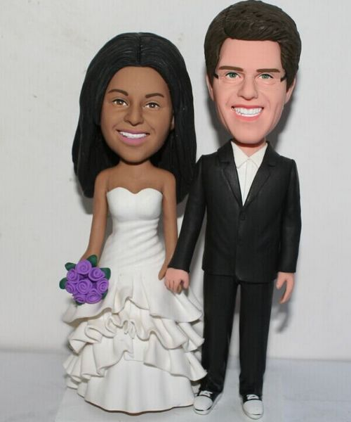 Custom Dark skin bride & White groom international cake tooppers