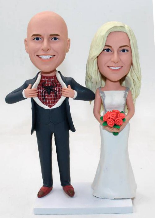 Custom Spider man theme wedding cake topper