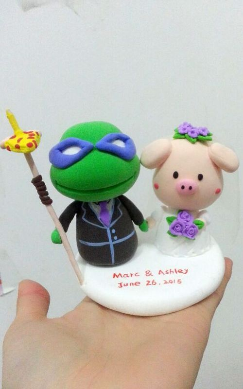 Custom Custom EMNT groom & pig bride cute cake topper