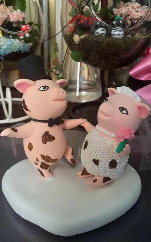 Custom Dancing Pigs cute wedding cake topper