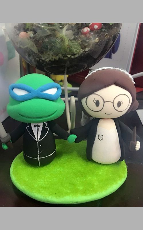 Custom TMNT Leonardo groom with Harry Potter Bride wedding cake topper