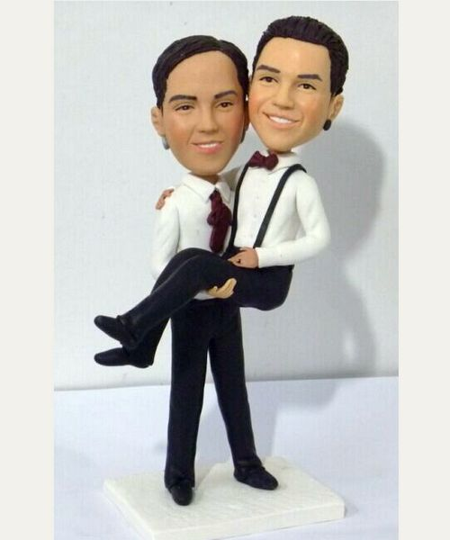 Custom Gay wedding cake topper -holding