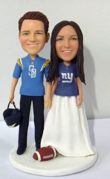 Custom Rugby theme wedding cake topper with San Diego Chargers & New York Giants jerseys