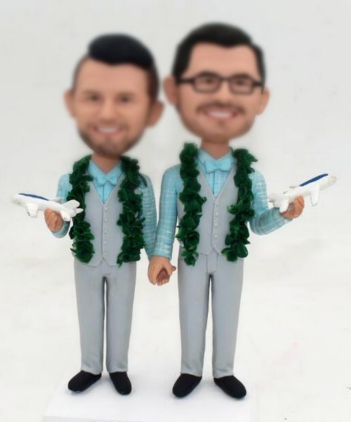 Custom Gay wedding cake topper with leis