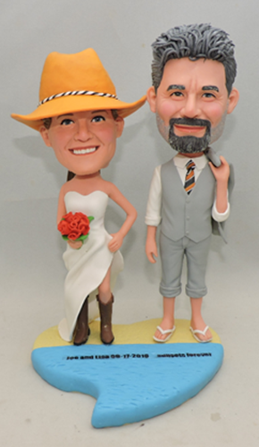 Beach theme wedding cake topper cowboy style bride