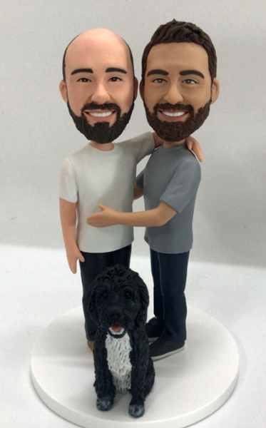 Custom Gay wedding anniversary cake topper with dog