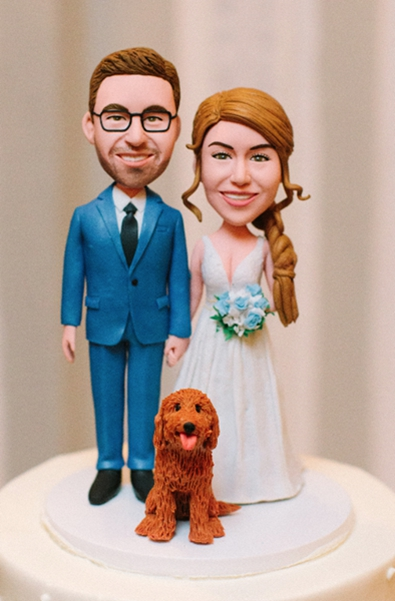 Custom custom cake topper with dog handmade dolls
