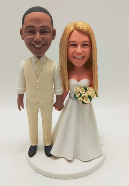 Custom Cake topper African American groom and Caucasian bride