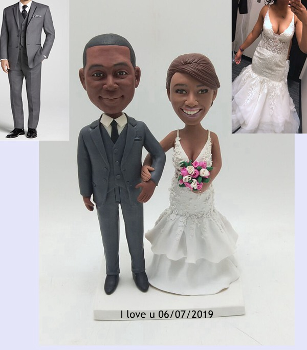 Custom Custom cake topper African American bride and groom