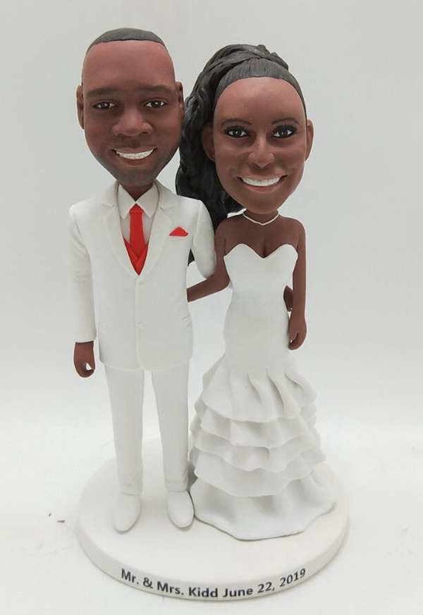 Custom Wedding cake toppers African American couple in white