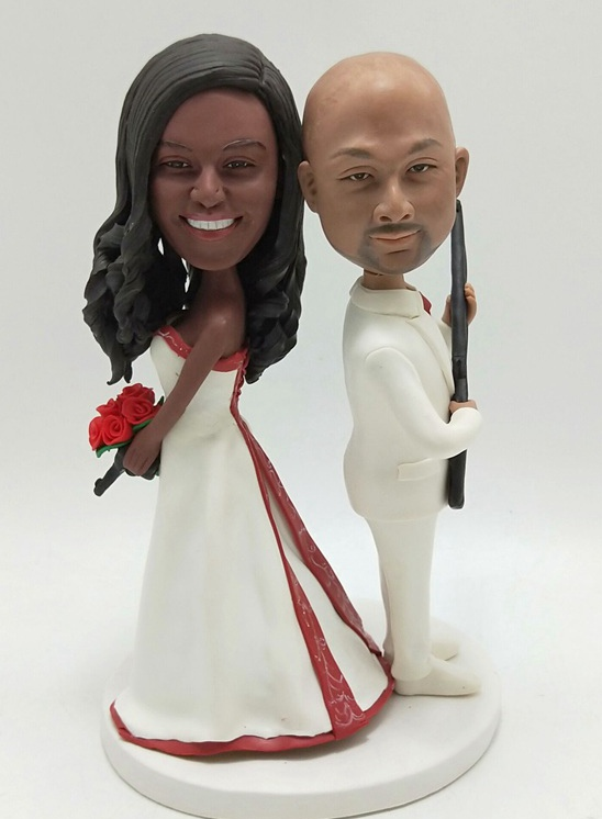 Custom Custom tall bride wedding cake topper African American