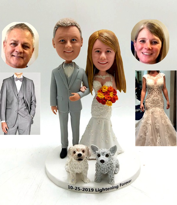 Custom Custom wedding cake topper with two dogs