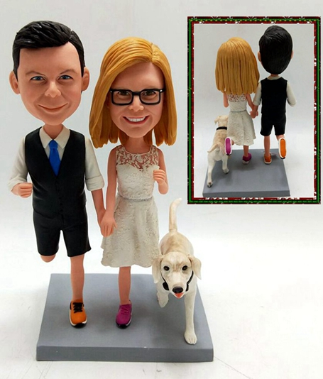 Custom Custom running couple wedding cake topper