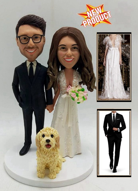 Custom Custom cake topper bride groom and dog