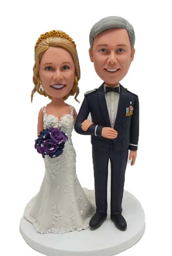 Custom Custom Wedding Cake Toppers with Groom in mess dress uniform