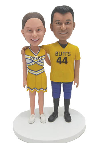 Custom Custom Wedding Cake toppers Football player and Cheer leader