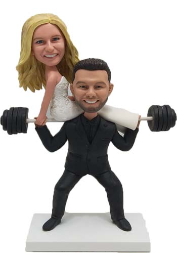 Custom Custom wedding cake toppers Weightlifting