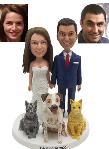 Custom Custom wedding cake topper with dogs