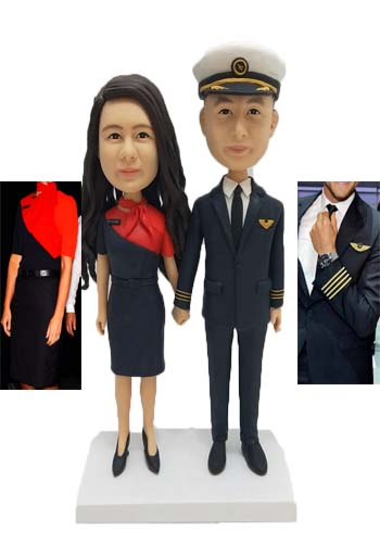Custom Custom wedding cake topper for Pilot and Flight attendants