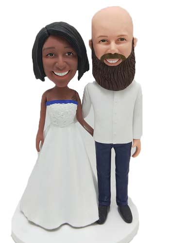 Custom Personalized wedding cake topper interracial