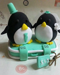 wedding cake toppers Penguins clay