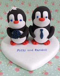 Penguins wedding cake toppers