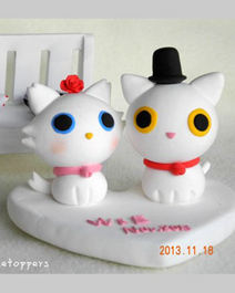 Wedding cake toppers cats bride groom