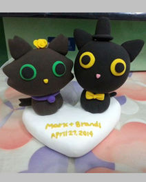 Wedding cake toppers black cats