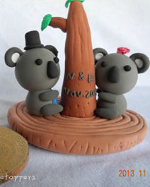 Wedding cake toppers koala bride groom