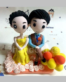 Fully customized cartoon wedding cake toppers