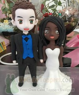 Custom cartoon interracial marriage wedding cake toppers
