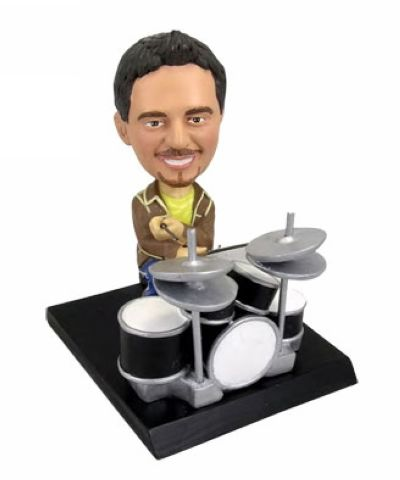 Custom Playing drums figurine - birthday cake topper