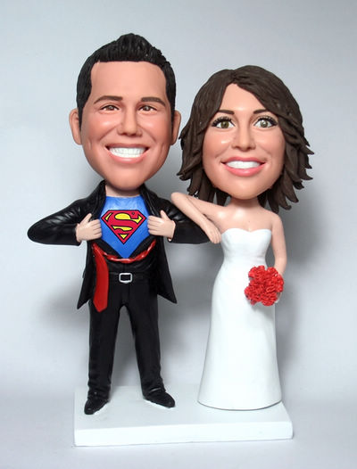 Custom Superman transform Wedding Cake Toppers