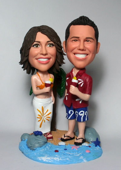 Custom Beach Anniversary Cake Toppers