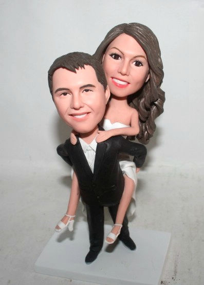 Custom Wedding cake topper groom carrying bride