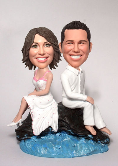 Custom Rock and sea wedding Cake Toppers BW22